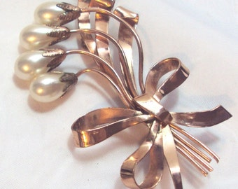 Large Rose Gold Tone Flower Bud Pin with Bow - Vintage