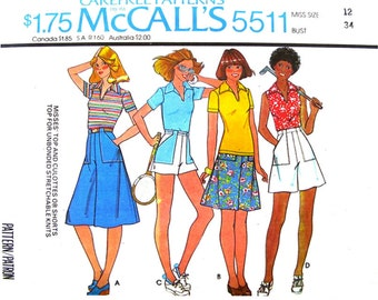Vintage Top Culottes or Shorts Patterns McCalls 5511 Sporty Pullover Top Collar Sleeveless or Short Sleeve Women Sewing Pattern Bust 34