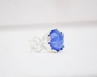 Moon Glow Ring, Blue Star Ring, Silver Filigree Ring, Something  Blue, Gift for Her, Starburst Ring Girlfriend, Bridesmaid Gift, Boho Ring