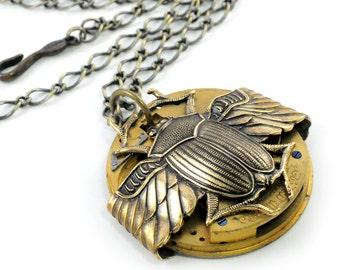 Antique Waltham Watch & Scarab Steampunk Necklace