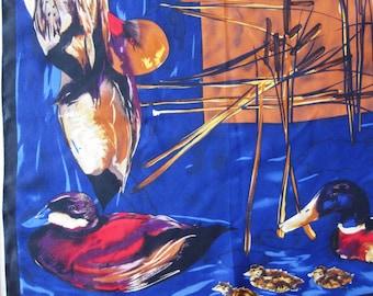 Vintage Silk Scarf Perry Ellis Ducks Birds Marsh Cattails Mallards Rustic Square