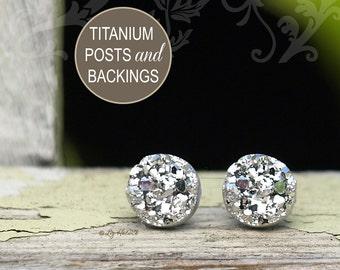 8mm Faux Silver Druzy Studs, Faux Druzy Titanium Post Glitter Earrings