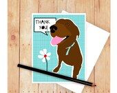 Chocolate Lab Birthday Card, Lab Lover, Dog Birthday Card, Dog Greeting Card, Labrador Retriever Art, Labrador Artwork, Thank you Card