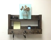 Rustic entryway shelf, key holder, mail organizer, reclaimed wood shelf , kitchen shelf, farmhouse shelf, bathroom shelf,
