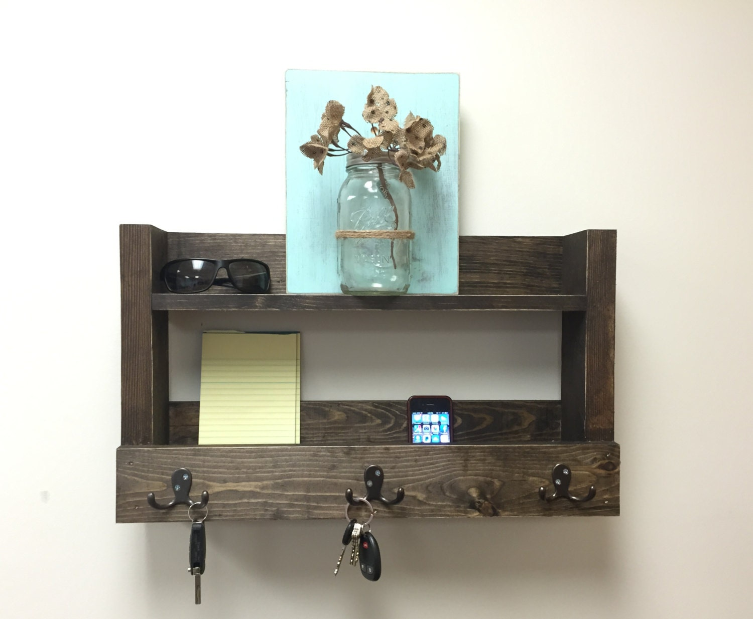 rustic entryway shelf key holder mail organizer reclaimed