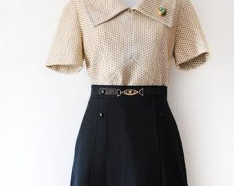 60s Collar Polka Dot Shell Top S-M