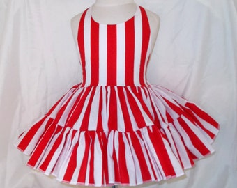 Red and White Striped Twirly Halter Dress Sundress with full ruffled skirt Infant Baby Toddler Girl Square Dance Twirly