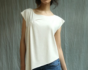 Side Drape Top, Bamboo Jersey, Modern Bohemian Style- handmade to order