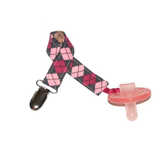 Pacifier Clip Girl  - Girl Pacifer Holder - Soothie Clip - Mam Pacifier Clip - Pink and Grey Argyle - Avent Clip