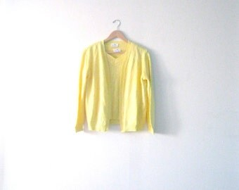 Vintage 60s sweater set / Sunny Yellow pointelle cardigan vest set