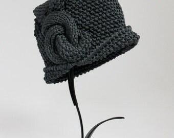 Handknitted Cloche Women Hat Color Grey Steel Gray Cotton Art Deco Hat Ellegant Hat
