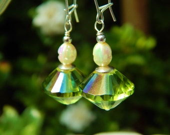 Appletini Earrings - Large, Lovely Iridescent Green Czech Glass Beads w Vintage Faux Pearl Beads & Long Sterling Silver Kidney Wires - YUM