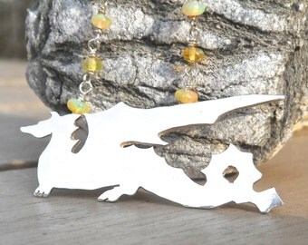 Sterling Silver Dragon with Fiery Yellow Ethiopian Opals Necklace
