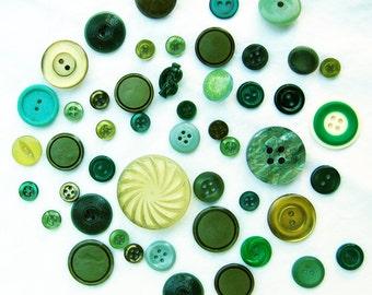 DESTASH - Green With Envy, 50 Vintage Buttons Mixture - Green Grass, Moss Green, Sea Green, Opalescent Green, Forest Green, Army Green