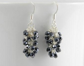 Gunmetal Gray Cascade Earrings, Gunmetal Dangle Earrings, Gray Dangle Earrings with Surgical Steel Ear Wires