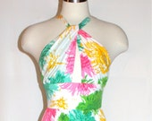 DON LUIS De ESPANA Vintage Maxi Dress Keyhole Floral Gown - Authentic -