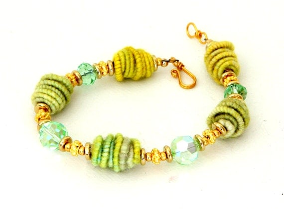 Kiwi Green Fiber Bead Bracelet. Handwrapped Artisan Fiber Beads. Gold Bali Beads. Swarovski Crystals. Beaded Bracelet.