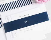 Navy Blue Wedding Invitation, Stripes, Navy Belly Band, Simple, Clean - Classic Urban Navy Wedding Invitations - Deposit