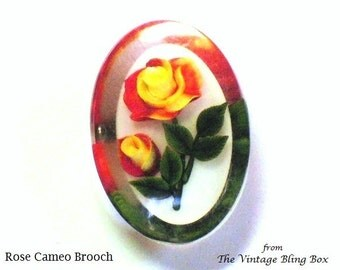 60s Reverse Carved Rose Cameo Brooch with Yellow & Red Roses on Single Stem Motif - Vintage 60's Lucite Plastic Costume Jewelry