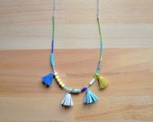 Colorful Long Beaded Necklace, Blue Green Yellow Beads, Gemstone Turquoise Necklace, Leather Tassel Jewelry, Silver Bead Jewelry