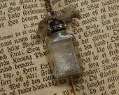 Vintage Antique Perfume Tiny Bottle Silver German Glass Glitter Necklace