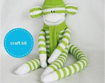 Stuffed Toys, Sock Monkey Kit - Light Green and White Stripes, Craft Kit, Stuffed Animal, Teens