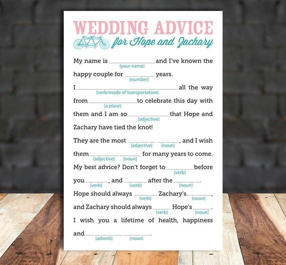 DIY Printable Wedding Mad-Libs - Wedding Advice