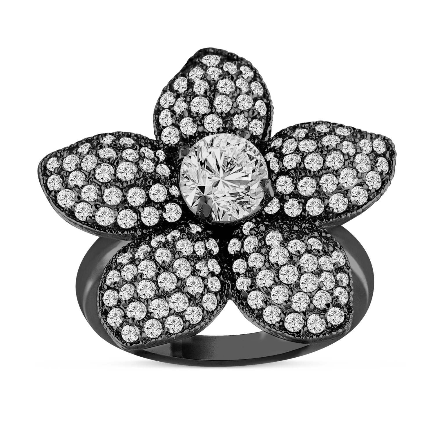 Flower Diamond Engagement Ring 2 65 Carat 14K Black Gold