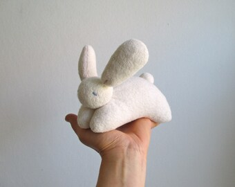 Bunny - organic, white, soft, cuddly, waldorf, eco friendly