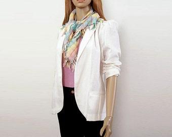 Vintage 1960s Curvy Jacket White Woven Open Blazer Jacket / Small