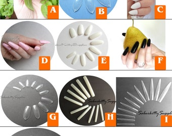 Nail Blanks Selection 11 Types with Nail Art PDF Tutorial DIY Full Kit, full coverage fake nails costuming and wedding (Calculated Shipping)