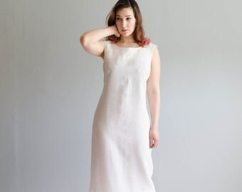 60s Linen Dress - Vintage 1960s Sheath dress - Blank Canvas Dress