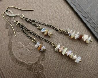 Long Opal Dangle Earrings, rustic dainty Bohemian earrings with genuine rough opal chips on brass, October birthstone