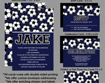 Soccer Theme Bar Mitzvah Invitation - Rsvp Reply Card - Celebration Card - Thank You Note Cards - Custom Addressing - USE for ANY EVENT