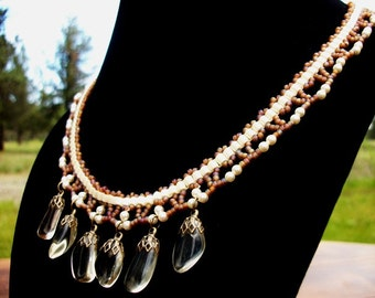 Sunstone Charm Pearl Luster Bib Collar Style Beaded Necklace High Fashion Fine Jewelry for Women