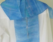 Hand painted silk scarf rowing design  blue aqua toned Canada made  8x54 scarf