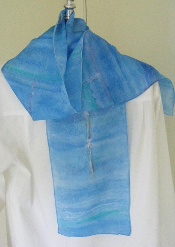 painted silk scarf rowing design blue aqua toned canada