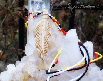Four Directions Bone Feather Native American Made Necklace