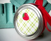 Plaid Strawberry Canning jar labels, round red stickers for mason jars, for jam, jelly, and fruit preservation, preserves, cottage chic