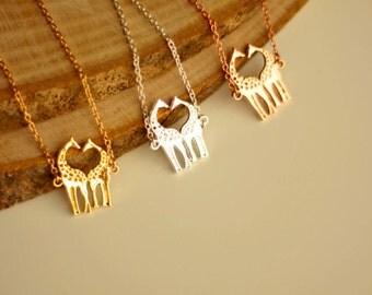 Minimalist Giraffe Necklace Giraffe pendant necklaces for everyday use minimalist necklaces rhodium plated earrings, pink gold yellow gold