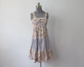 Vintage '70s Calico Cotton Prairie, Festival Tank Dress, XS, 32 Inch Bust