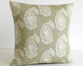 Paisley Pillow Cover, Accent Pillow Cover, Cushion Cover, Shabby Chic Pillow Sham, 16 Inch Pillowcase, 16x16 Scatter Cushion - Paisley Sage