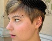 Vintage Veil Hat Dark Brown velvet Ring & Dotted Net Veil - 1960s