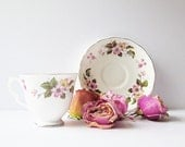 Vintage Tea Cup English Bone China - Queen Anne - Ridgway Potteries - Apple Blossoms Raspberries Primroses - Tea Party Cup And Saucer