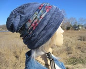 CUSTOM ORDER:   Bohemian Clothing Knit Slouchy Beanie Hat Oversized Tam Women's Acid Washed Distressed Denim Blue Floral Print A1600