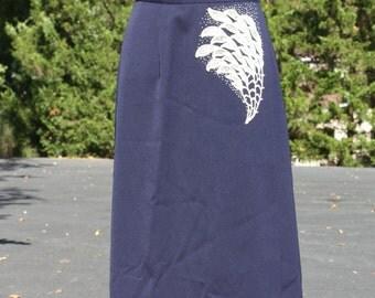 Vintage 1940's Skirt Wrap style Navy White Applique Embellishment Rhinestones Beads