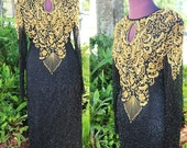 """Vintage 80s Black Gold Beaded Sequin Cocktail Deco Dress Size Small Bust 36"""" Long Sleeve Keyhole Evening Wedding Mardi Gras Party Formal"""