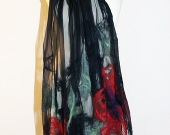 Nuno felted Large Shawl, Felted wrap, Summer silk shawl, Hand made felting scarves, scarf, for evening dress, felted scarf.