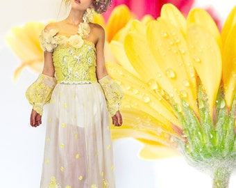 Handmade Floral Embroidered Chifon Yellow Dress, Balloon ARM CUFFS, Off Shoulder, Redesigned clothing by Tatiana Andrade for TatiTati Style