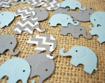 50 Elephant Baby Boy Shower Confetti - No1076